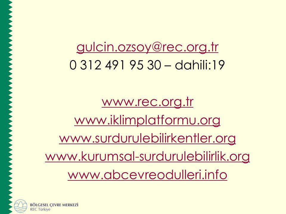 gulcin.ozsoy@rec.org.tr 0 312 491 95 30 – dahili:19 www.rec.org.tr www.iklimplatformu.org www.surdurulebilirkentler.org www.kurumsal-surdurulebilirlik.org www.abcevreodulleri.info