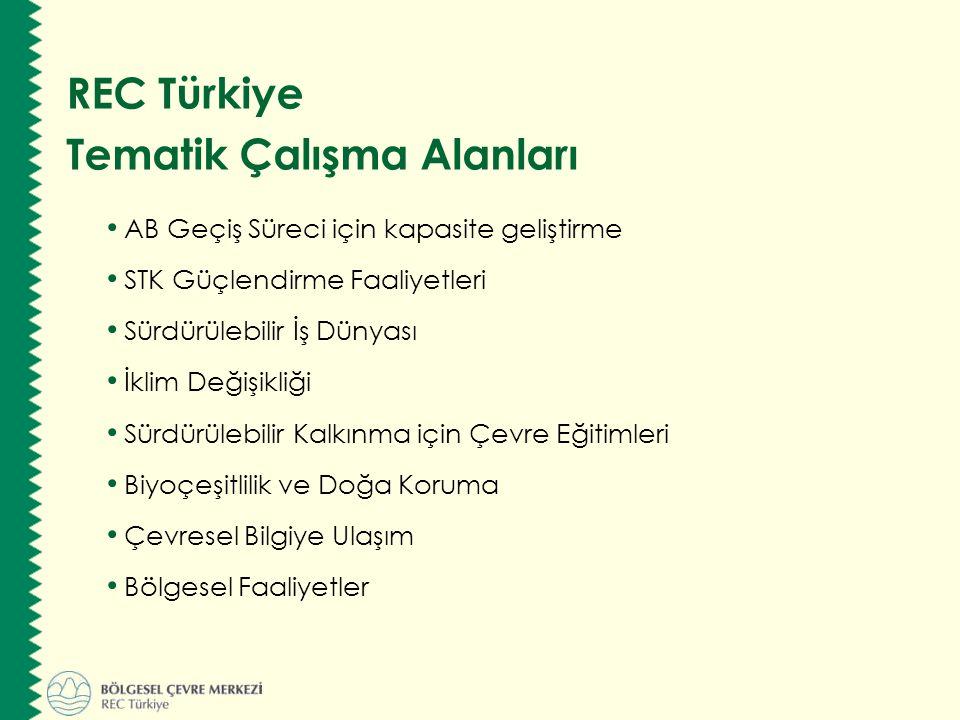 AB Geçiş Süreci için kapasite geliştirme STK Güçlendirme Faaliyetleri Sürdürülebilir İş Dünyası İklim Değişikliği Sürdürülebilir Kalkınma için Çevre Eğitimleri Biyoçeşitlilik ve Doğa Koruma Çevresel Bilgiye Ulaşım Bölgesel Faaliyetler REC Türkiye Tematik Çalışma Alanları