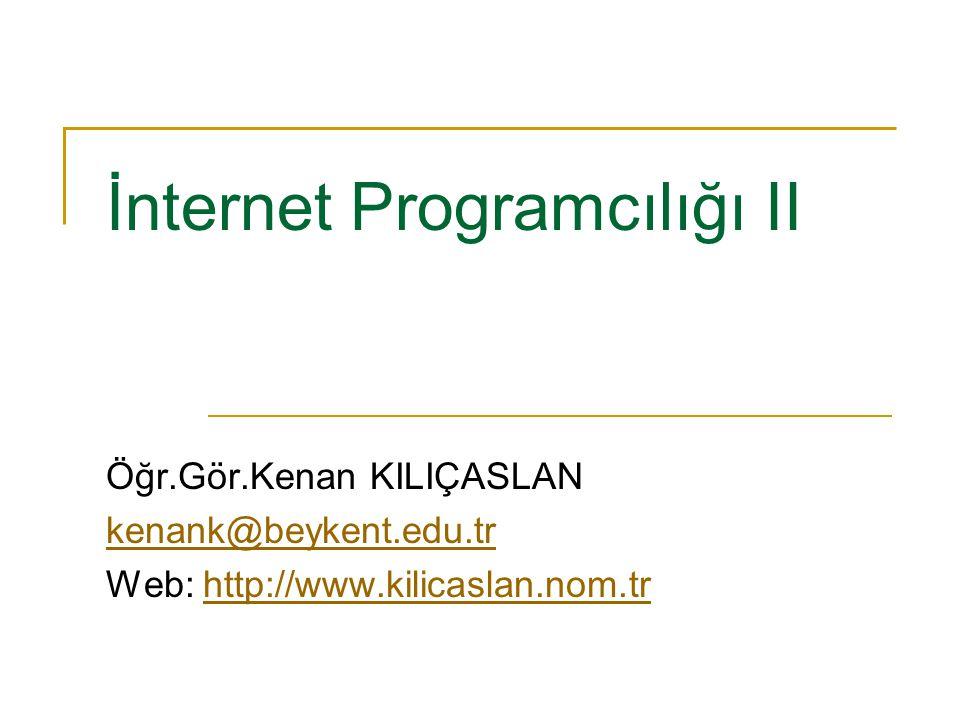 İnternet Programcılığı II Öğr.Gör.Kenan KILIÇASLAN kenank@beykent.edu.tr Web: http://www.kilicaslan.nom.trhttp://www.kilicaslan.nom.tr