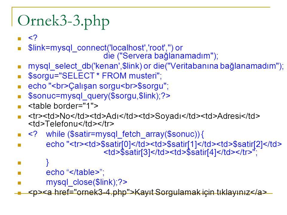 Ornek3-3.php <? $link=mysql_connect('localhost','root','') or die (
