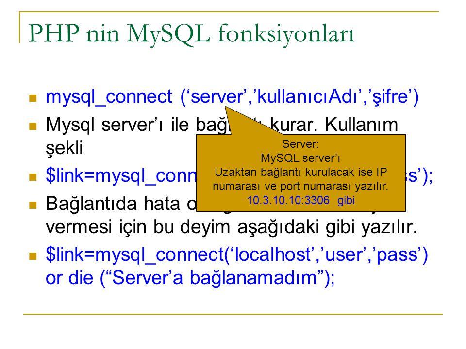 PHP nin MySQL fonksiyonları mysql_connect ('server','kullanıcıAdı','şifre') Mysql server'ı ile bağlantı kurar. Kullanım şekli $link=mysql_connect('loc