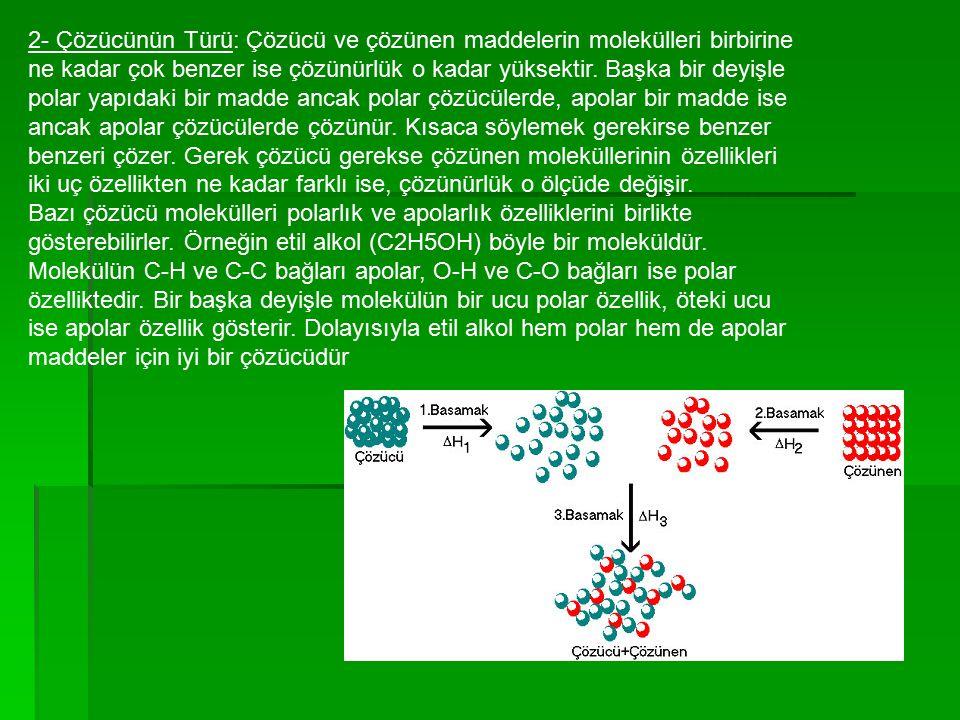 2- Çözücünün Türü: Çözücü ve çözünen maddelerin molekülleri birbirine ne kadar çok benzer ise çözünürlük o kadar yüksektir. Başka bir deyişle polar ya