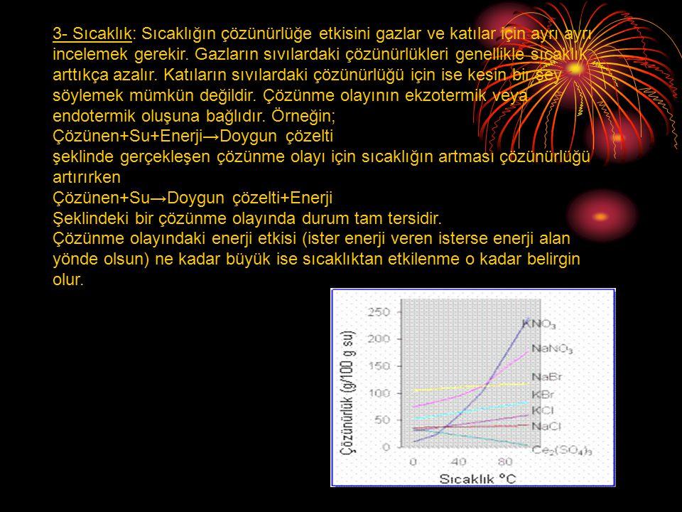 3- Sıcaklık: Sıcaklığın çözünürlüğe etkisini gazlar ve katılar için ayrı ayrı incelemek gerekir. Gazların sıvılardaki çözünürlükleri genellikle sıcakl
