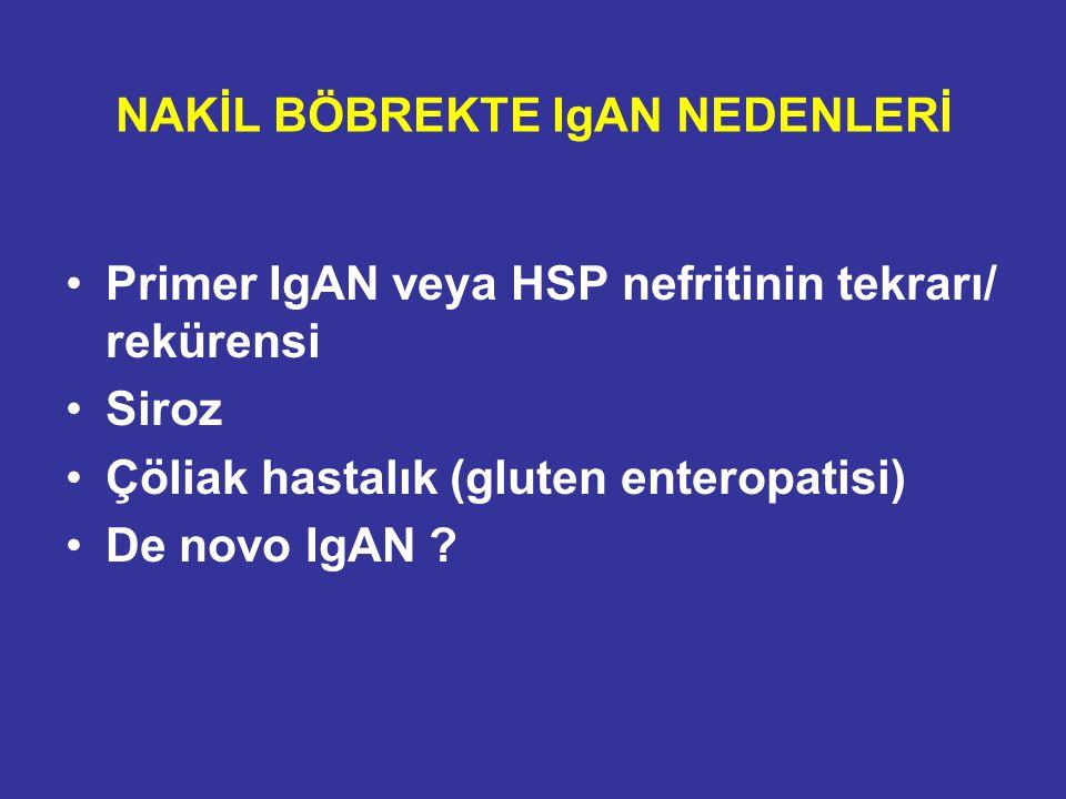 NAKİL BÖBREKTE IgAN NEDENLERİ Primer IgAN veya HSP nefritinin tekrarı/ rekürensi Siroz Çöliak hastalık (gluten enteropatisi) De novo IgAN ?