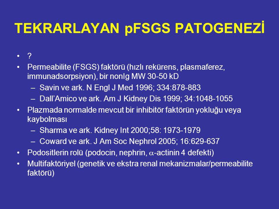 TEKRARLAYAN pFSGS PATOGENEZİ ? Permeabilite (FSGS) faktörü (hızlı rekürens, plasmaferez, immunadsorpsiyon), bir nonIg MW 30-50 kD –Savin ve ark. N Eng