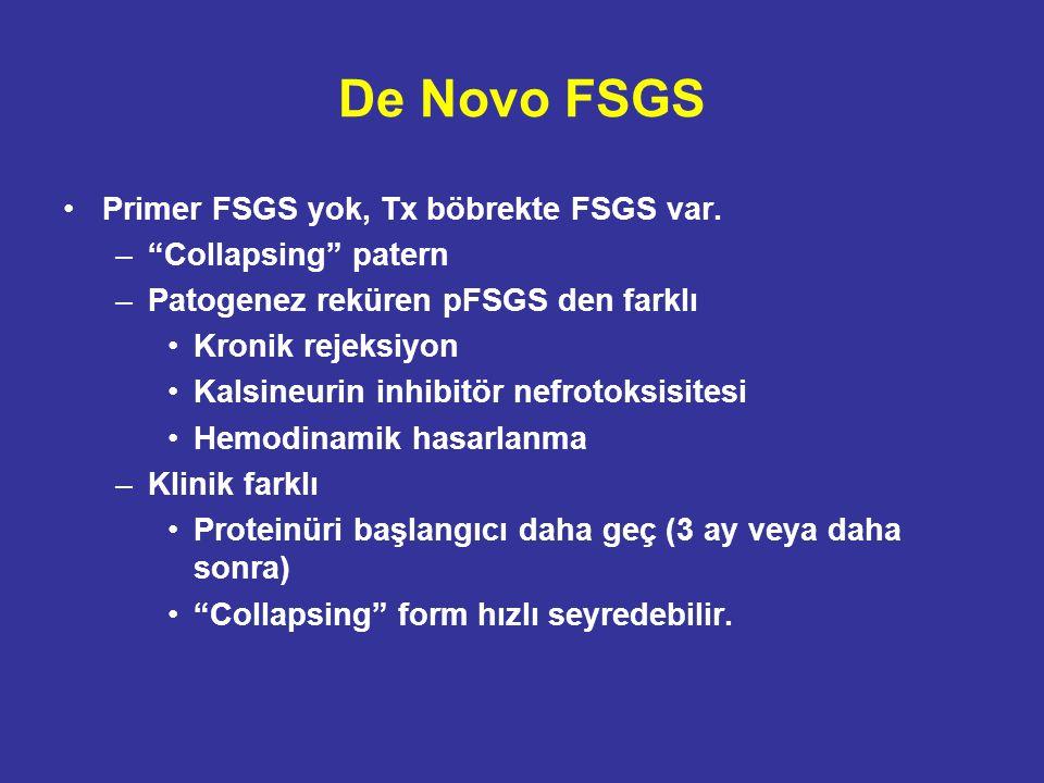 """De Novo FSGS Primer FSGS yok, Tx böbrekte FSGS var. –""""Collapsing"""" patern –Patogenez reküren pFSGS den farklı Kronik rejeksiyon Kalsineurin inhibitör n"""