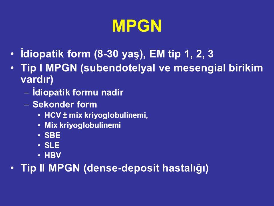 MPGN İdiopatik form (8-30 yaş), EM tip 1, 2, 3 Tip I MPGN (subendotelyal ve mesengial birikim vardır) –İdiopatik formu nadir –Sekonder form HCV ± mix