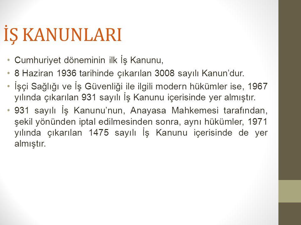 İŞ KANUNLARI Cumhuriyet döneminin ilk İş Kanunu, 8 Haziran 1936 tarihinde çıkarılan 3008 sayılı Kanun'dur. İşçi Sağlığı ve İş Güvenliği ile ilgili mod