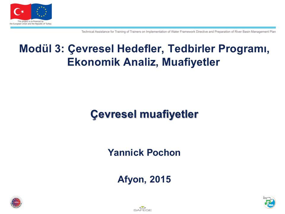 Modül 3: Çevresel Hedefler, Tedbirler Programı, Ekonomik Analiz, Muafiyetler Çevresel muafiyetler Yannick Pochon Afyon, 2015