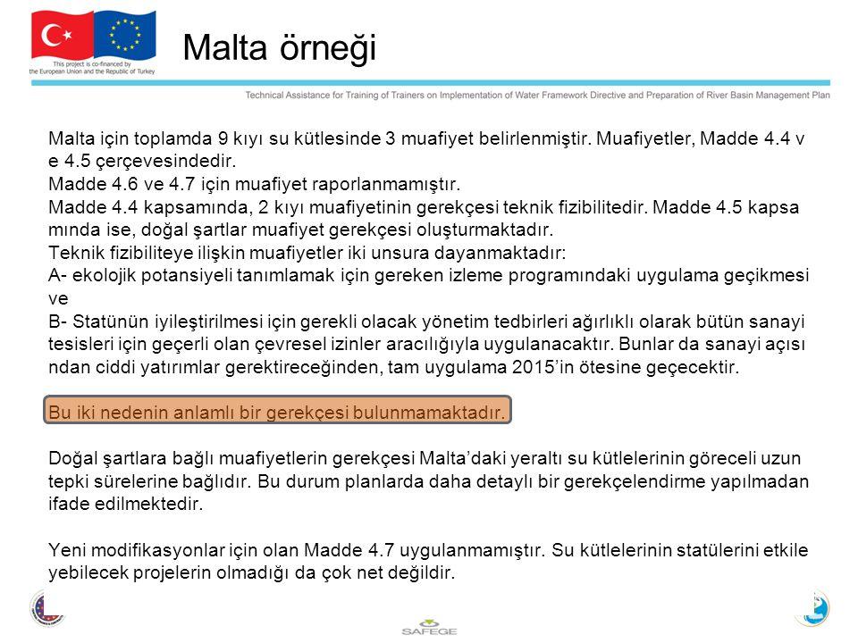 Malta örneği Malta için toplamda 9 kıyı su kütlesinde 3 muafiyet belirlenmiştir.