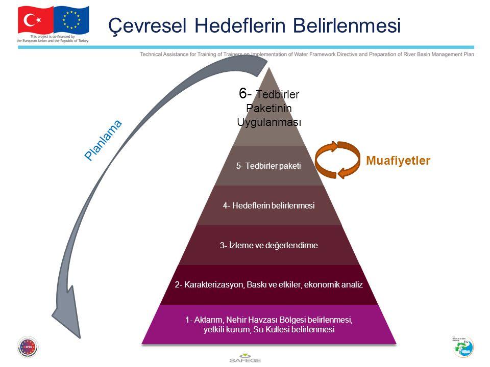 Çevresel Hedeflerin Belirlenmesi 6- Tedbirler Paketinin Uygulanması 5- Tedbirler paketi 4- Hedeflerin belirlenmesi 3- İzleme ve değerlendirme 2- Karakterizasyon, Baskı ve etkiler, ekonomik analiz 1- Aktarım, Nehir Havzası Bölgesi belirlenmesi, yetkili kurum, Su Kültesi belirlenmesi Planlama Muafiyetler