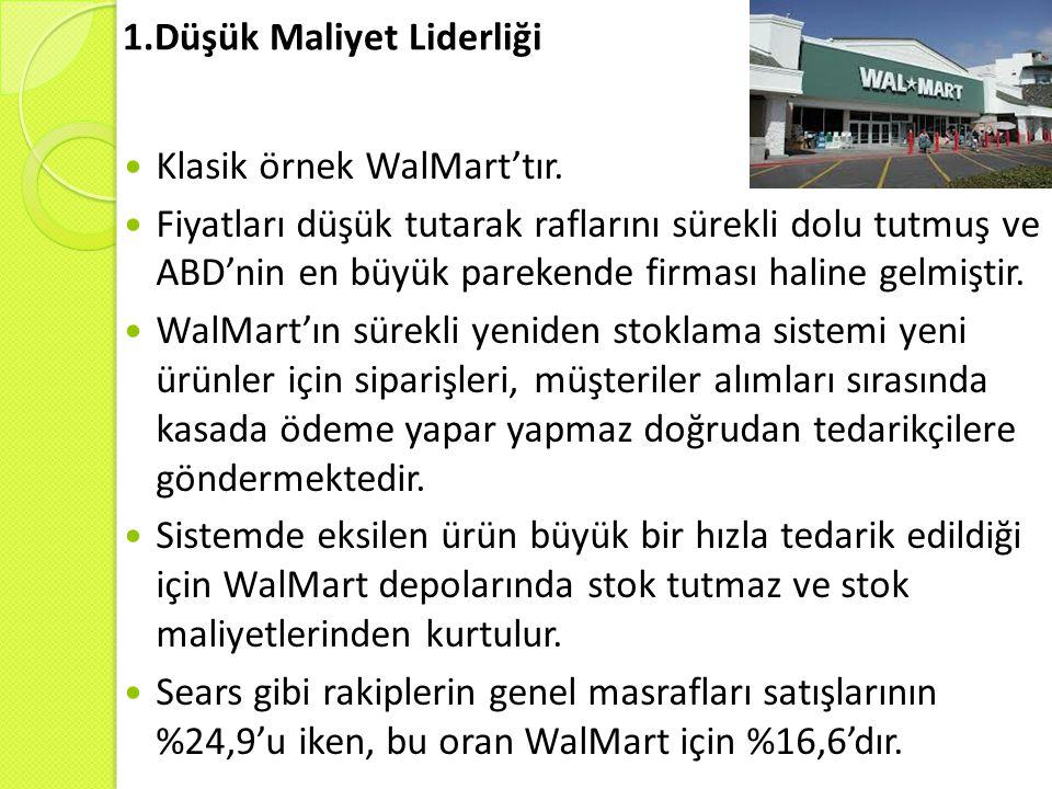 1.Düşük Maliyet Liderliği Klasik örnek WalMart'tır. Fiyatları düşük tutarak raflarını sürekli dolu tutmuş ve ABD'nin en büyük parekende firması haline