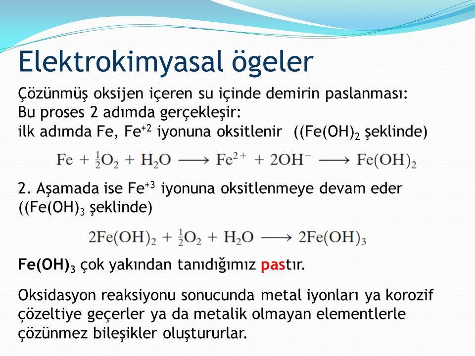 Çözünmüş oksijen içeren su içinde demirin paslanması: Bu proses 2 adımda gerçekleşir: ilk adımda Fe, Fe +2 iyonuna oksitlenir ((Fe(OH) 2 şeklinde) 2.