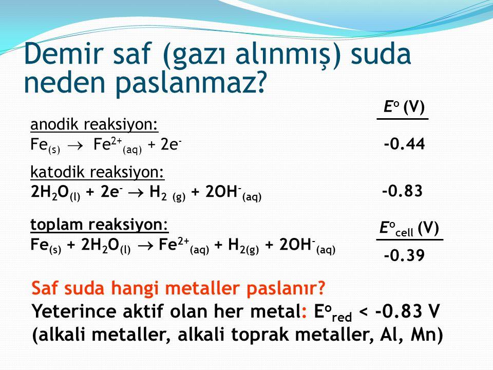 Demir saf (gazı alınmış) suda neden paslanmaz? anodik reaksiyon: Fe (s)  Fe 2+ (aq) + 2e - katodik reaksiyon: 2H 2 O (l) + 2e -  H 2 (g) + 2OH - (aq