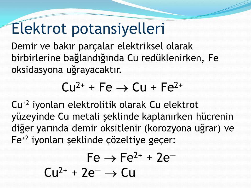 Elektrot potansiyelleri Demir ve bakır parçalar elektriksel olarak birbirlerine bağlandığında Cu redüklenirken, Fe oksidasyona uğrayacaktır. Cu 2+ + F