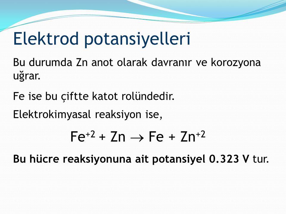 Elektrod potansiyelleri Bu durumda Zn anot olarak davranır ve korozyona uğrar. Fe ise bu çiftte katot rolündedir. Elektrokimyasal reaksiyon ise, Fe +2