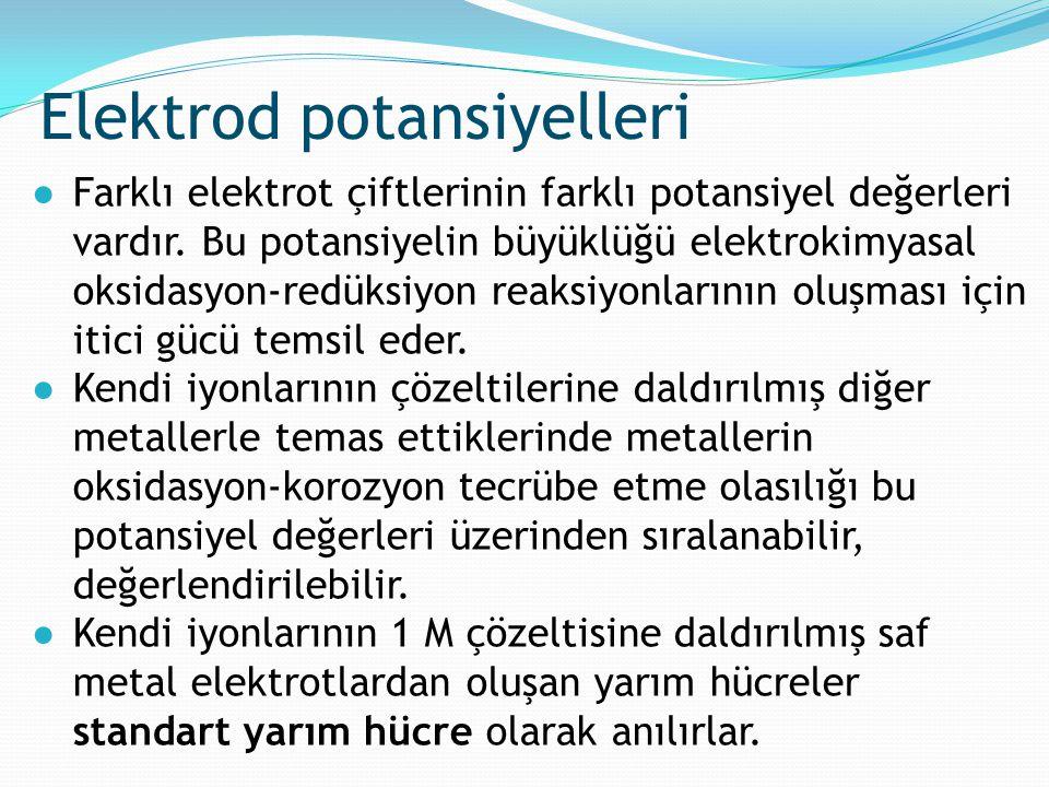 ●Farklı elektrot çiftlerinin farklı potansiyel değerleri vardır. Bu potansiyelin büyüklüğü elektrokimyasal oksidasyon-redüksiyon reaksiyonlarının oluş