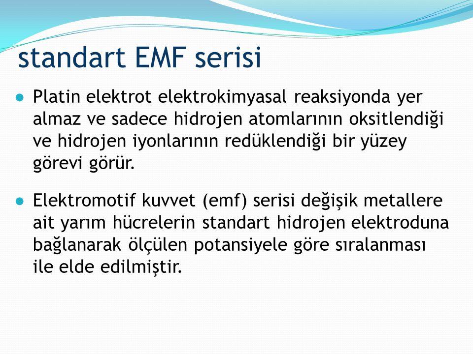 standart EMF serisi ●Platin elektrot elektrokimyasal reaksiyonda yer almaz ve sadece hidrojen atomlarının oksitlendiği ve hidrojen iyonlarının redükle