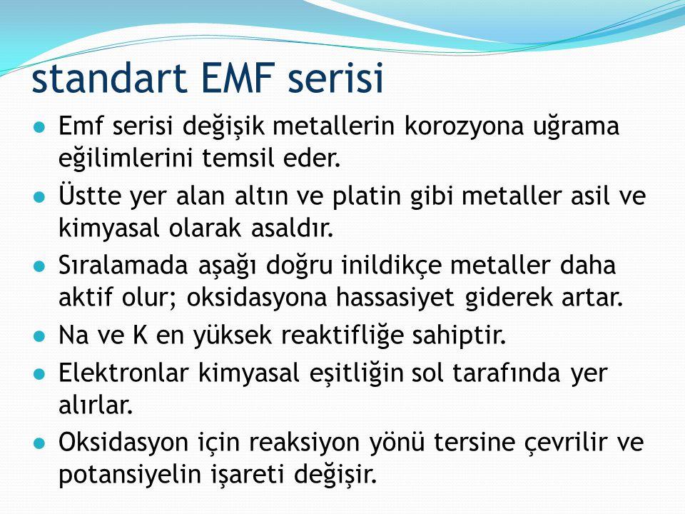 standart EMF serisi ●Emf serisi değişik metallerin korozyona uğrama eğilimlerini temsil eder. ●Üstte yer alan altın ve platin gibi metaller asil ve ki