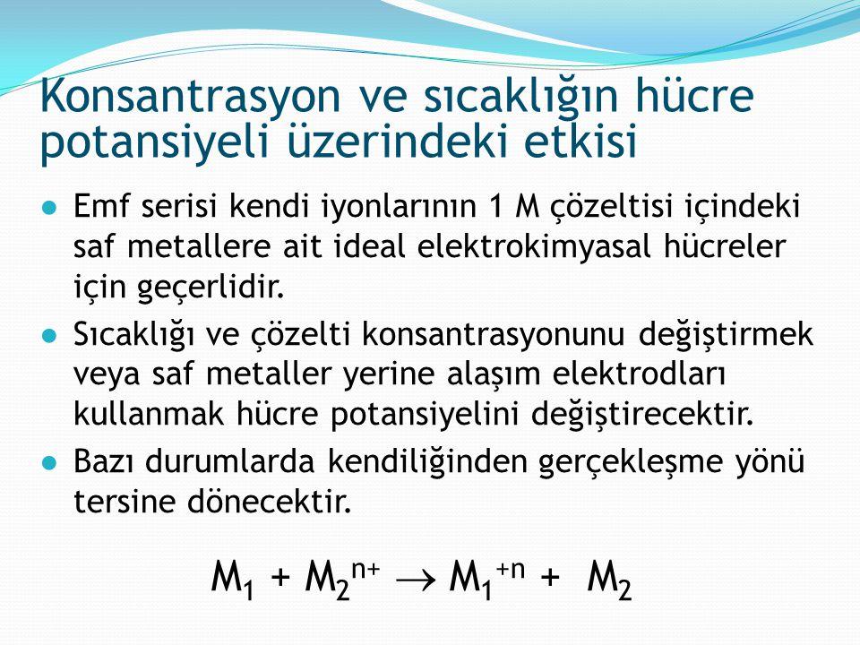 ●Emf serisi kendi iyonlarının 1 M çözeltisi içindeki saf metallere ait ideal elektrokimyasal hücreler için geçerlidir. ●Sıcaklığı ve çözelti konsantra