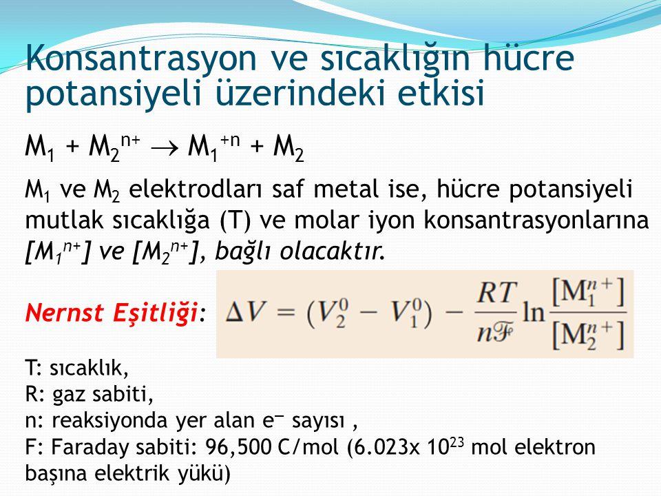 M 1 + M 2 n+  M 1 +n + M 2 M 1 ve M 2 elektrodları saf metal ise, hücre potansiyeli mutlak sıcaklığa (T) ve molar iyon konsantrasyonlarına [M 1 n+ ]