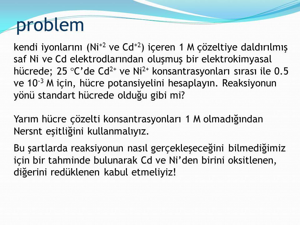 problem kendi iyonlarını (Ni +2 ve Cd +2 ) içeren 1 M çözeltiye daldırılmış saf Ni ve Cd elektrodlarından oluşmuş bir elektrokimyasal hücrede; 25  C'