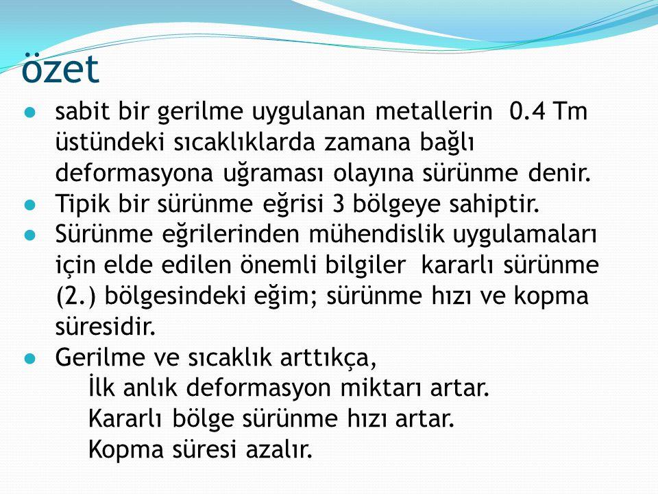 özet ●sabit bir gerilme uygulanan metallerin 0.4 Tm üstündeki sıcaklıklarda zamana bağlı deformasyona uğraması olayına sürünme denir. ●Tipik bir sürün