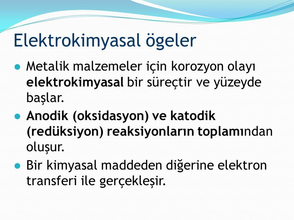 Elektrokimyasal ögeler ●Metalik malzemeler için korozyon olayı elektrokimyasal bir süreçtir ve yüzeyde başlar. ●Anodik (oksidasyon) ve katodik (redüks