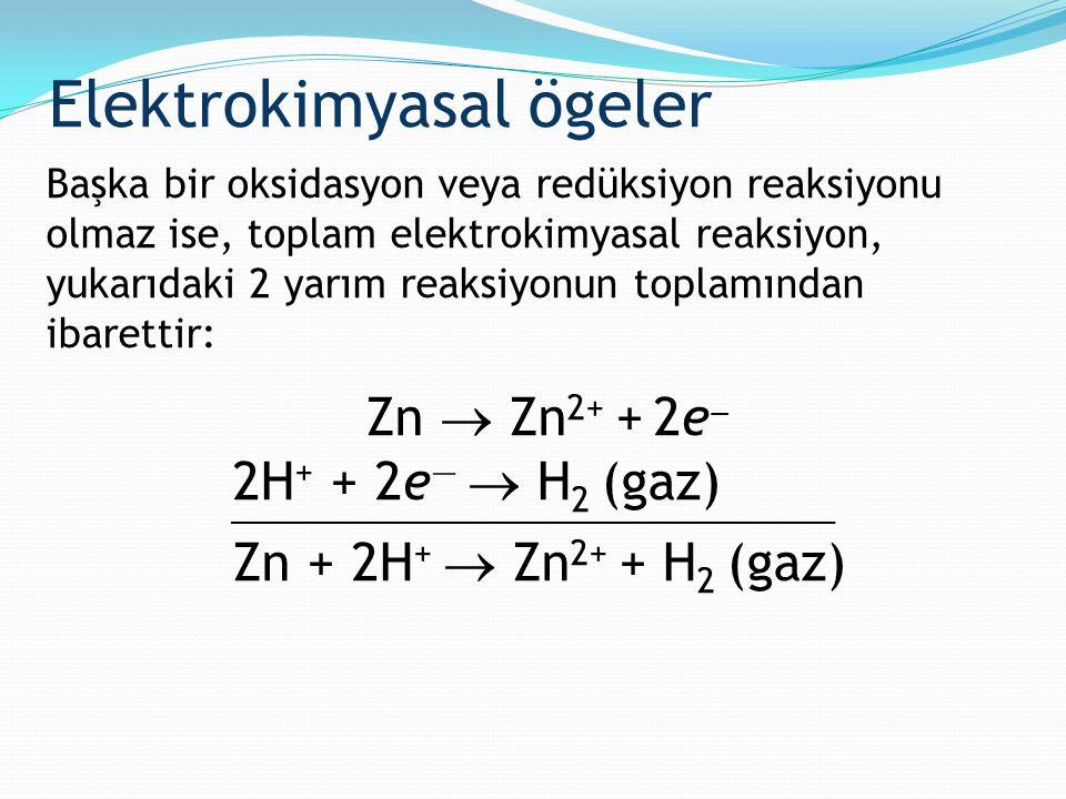 Başka bir oksidasyon veya redüksiyon reaksiyonu olmaz ise, toplam elektrokimyasal reaksiyon, yukarıdaki 2 yarım reaksiyonun toplamından ibarettir: Zn