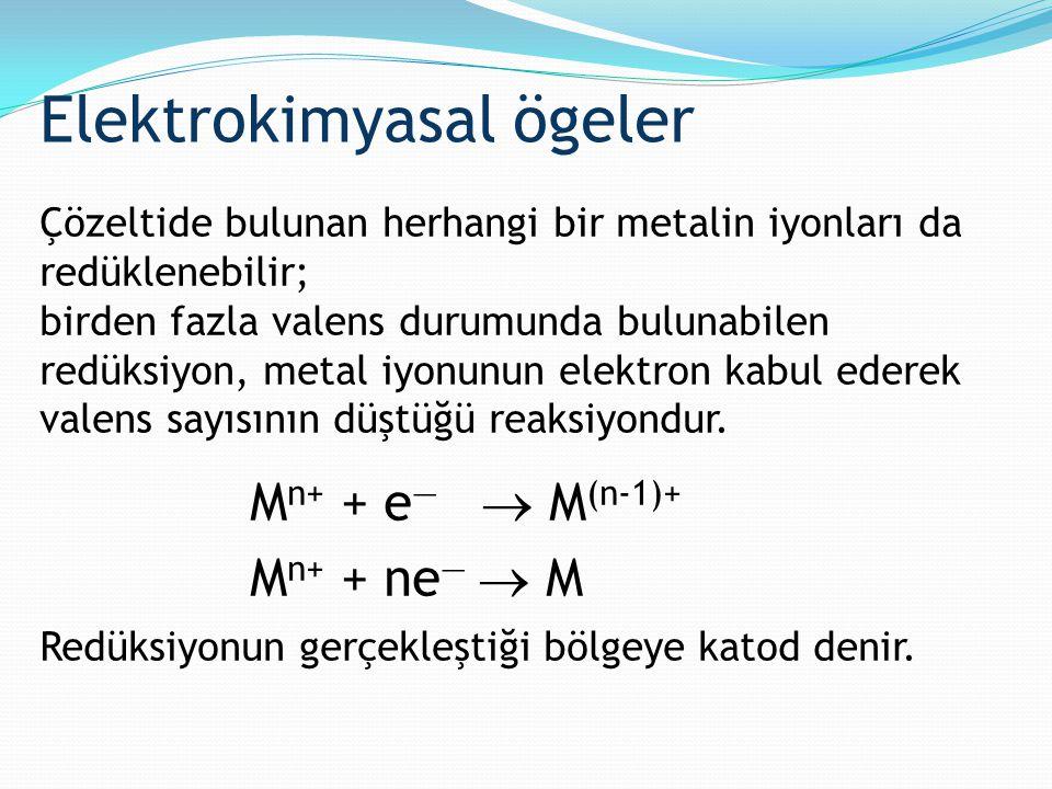 Çözeltide bulunan herhangi bir metalin iyonları da redüklenebilir; birden fazla valens durumunda bulunabilen redüksiyon, metal iyonunun elektron kabul