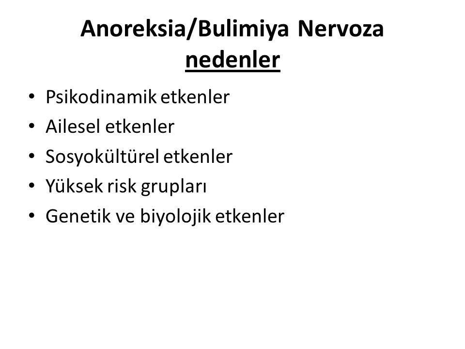 Anoreksia/Bulimiya Nervoza nedenler Psikodinamik etkenler Ailesel etkenler Sosyokültürel etkenler Yüksek risk grupları Genetik ve biyolojik etkenler