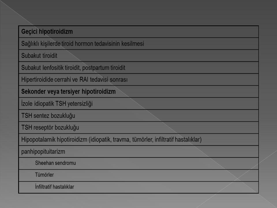  T3 T4 düzeylerinin normal,TSH yüksek klinik hipotiroidi bulgularının olmadığı tablo.