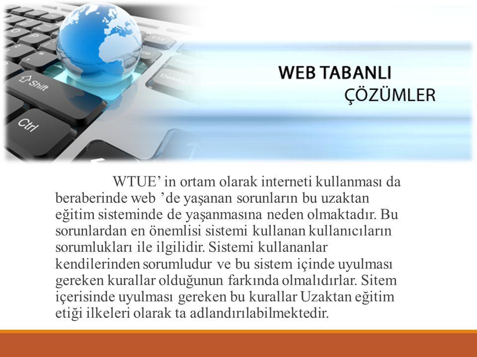 WTUE' in ortam olarak interneti kullanması da beraberinde web 'de yaşanan sorunların bu uzaktan eğitim sisteminde de yaşanmasına neden olmaktadır. Bu