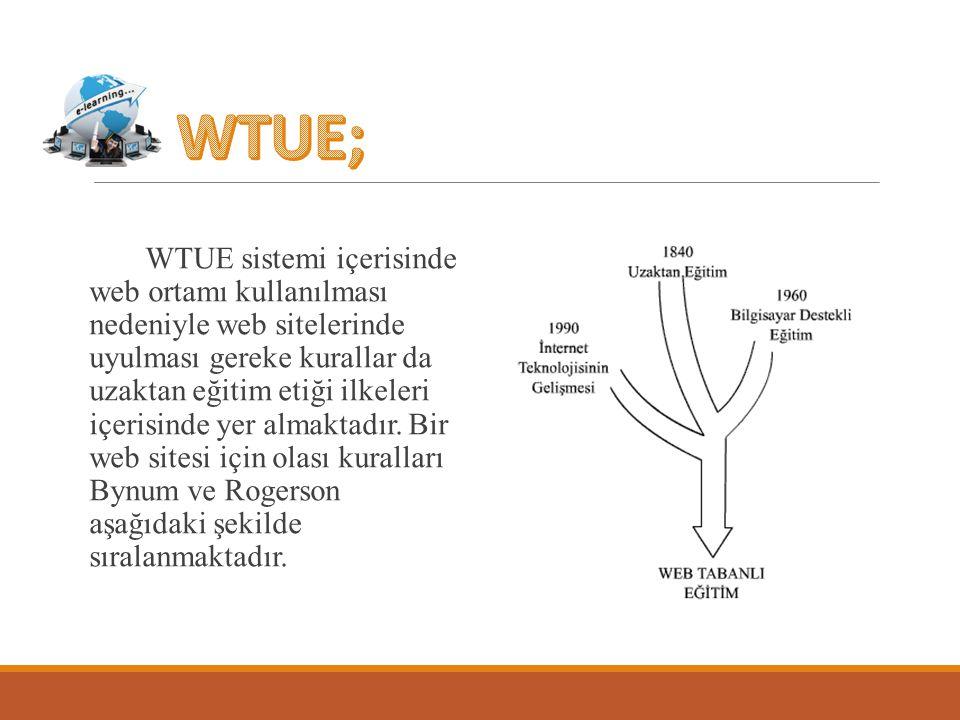 WTUE sistemi içerisinde web ortamı kullanılması nedeniyle web sitelerinde uyulması gereke kurallar da uzaktan eğitim etiği ilkeleri içerisinde yer alm