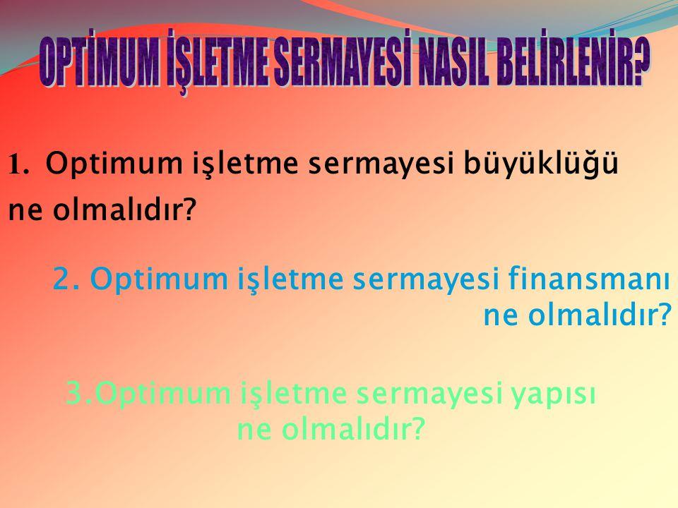 3.Optimum işletme sermayesi yapısı ne olmalıdır? 1. Optimum işletme sermayesi büyüklüğü ne olmalıdır? 2. Optimum işletme sermayesi finansmanı ne olmal