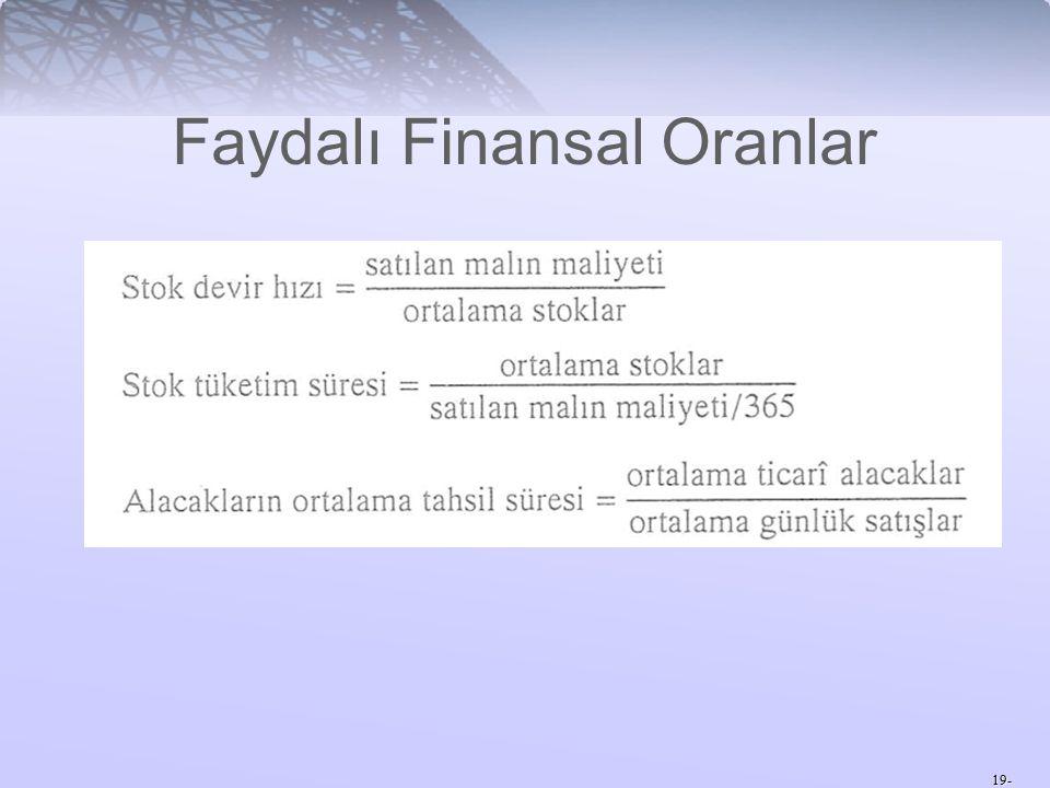 19- Faydalı Finansal Oranlar