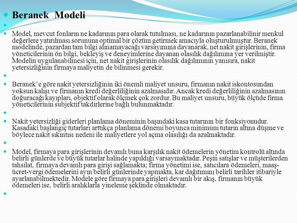 Beranek Modeli Model, mevcut fonların ne kadarının para olarak tutulması, ne kadarının pazarlanabilinir menkul değerlere yatırılması sorununa optimal bir çözüm getirmek amacıyla oluşturulmuştur.
