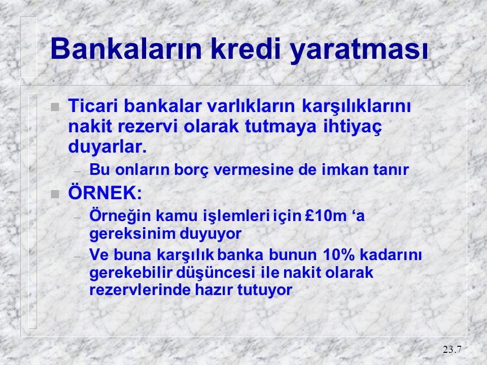 23.7 Bankaların kredi yaratması n Ticari bankalar varlıkların karşılıklarını nakit rezervi olarak tutmaya ihtiyaç duyarlar. – Bu onların borç vermesin