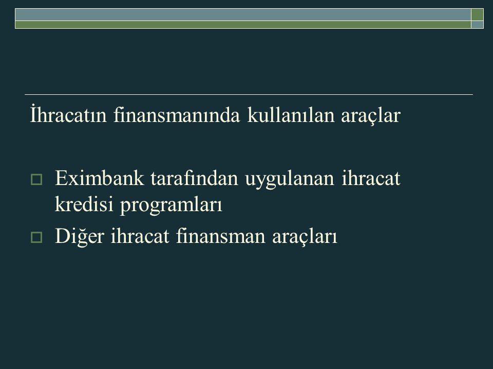 İhracatın finansmanında kullanılan araçlar  Eximbank tarafından uygulanan ihracat kredisi programları  Diğer ihracat finansman araçları