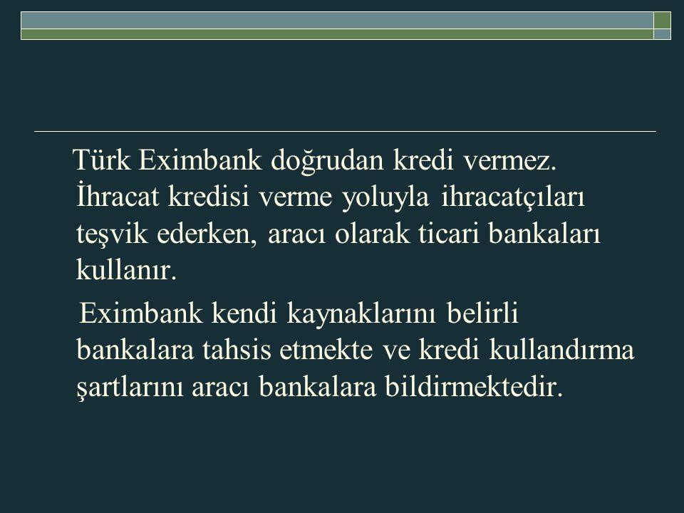 Türk Eximbank doğrudan kredi vermez.