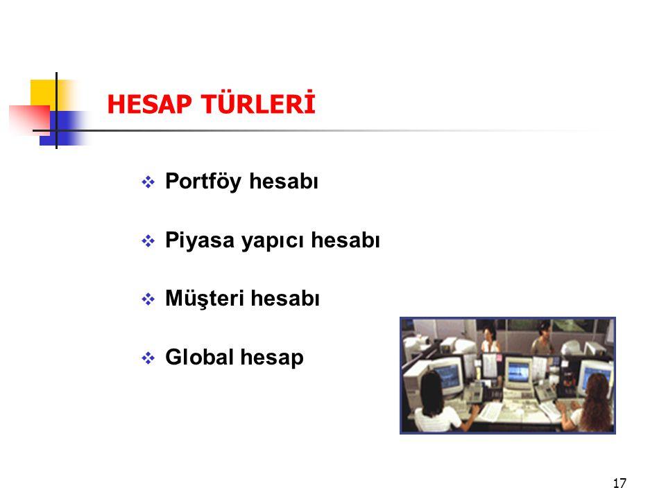17  Portföy hesabı  Piyasa yapıcı hesabı  Müşteri hesabı  Global hesap HESAP TÜRLERİ
