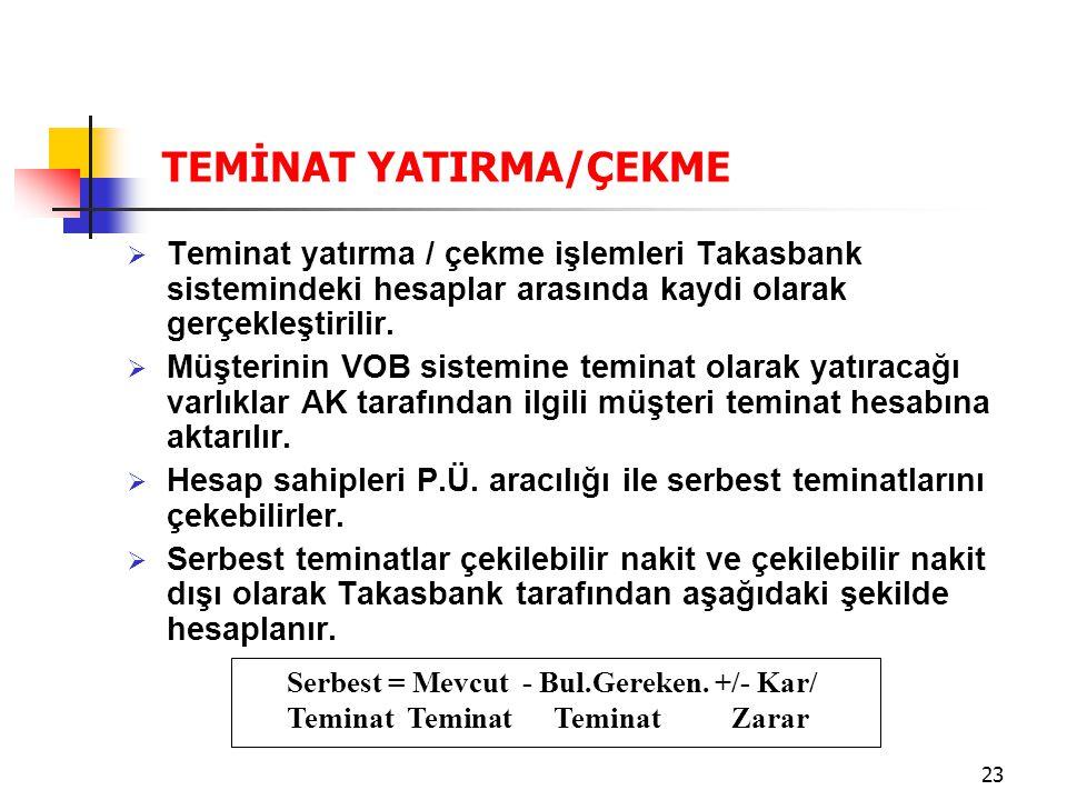 23  Teminat yatırma / çekme işlemleri Takasbank sistemindeki hesaplar arasında kaydi olarak gerçekleştirilir.  Müşterinin VOB sistemine teminat olar