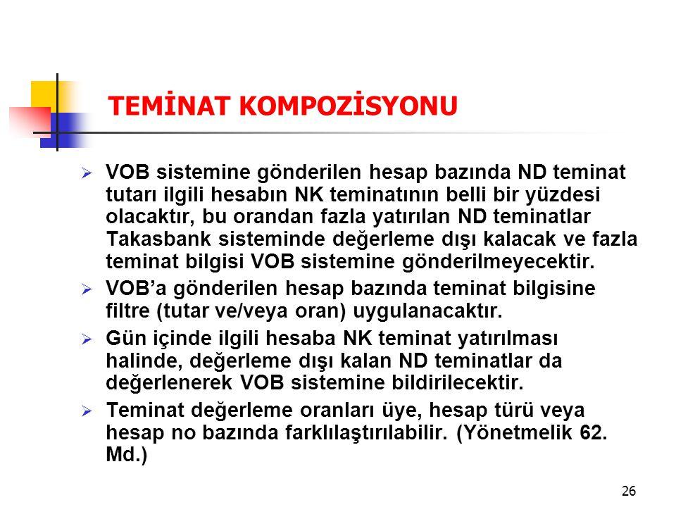 26  VOB sistemine gönderilen hesap bazında ND teminat tutarı ilgili hesabın NK teminatının belli bir yüzdesi olacaktır, bu orandan fazla yatırılan ND teminatlar Takasbank sisteminde değerleme dışı kalacak ve fazla teminat bilgisi VOB sistemine gönderilmeyecektir.