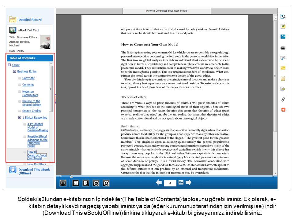 Soldaki sütundan e-kitabınızın İçindekiler(The Table of Contents) tablosunu görebilirsiniz.