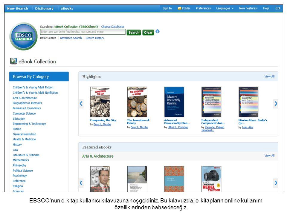 EBSCO'nun e-kitap kullanıcı kılavuzuna hoşgeldiniz.