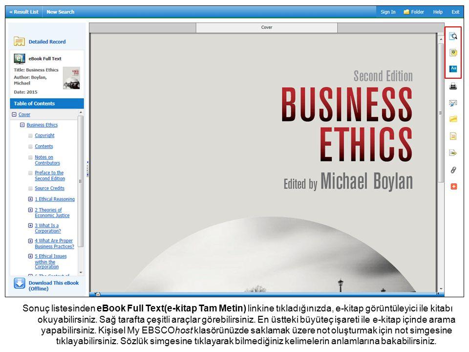 Sonuç listesinden eBook Full Text(e-kitap Tam Metin) linkine tıkladığınızda, e-kitap görüntüleyici ile kitabı okuyabilirsiniz.