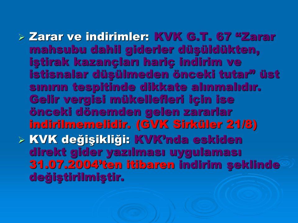  Zarar ve indirimler: KVK G.T.