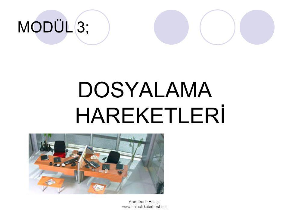 Abdulkadir Halaçlı www.halacli.kebirhost.net MODÜL 3; DOSYALAMA HAREKETLERİ
