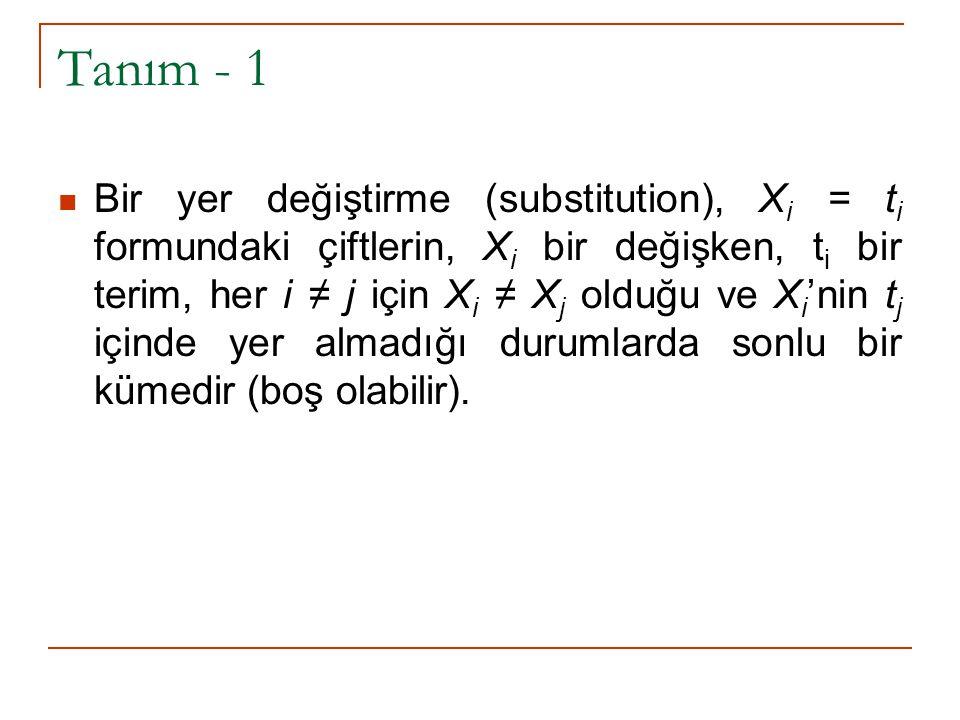 Tanım - 2 Eğer A = Bθ olan bir θ yer değiştirmesi varsa A, B'nin bir örneğidir.