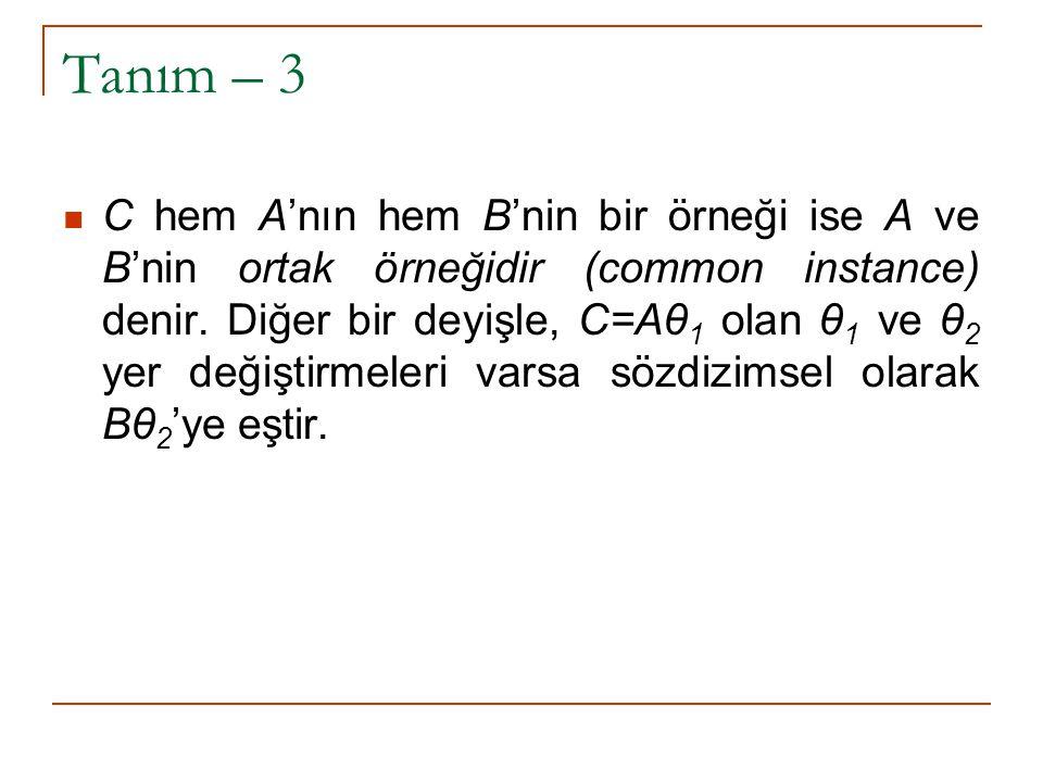 Tanım – 4 Evrensel modus ponens yasası, R=(A←B 1,B 2, …, B n ) kuralından ve B' 1.